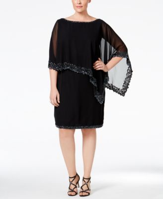 J Kara Plus Size Beaded Cape Dress | macys.com | Knee length ...