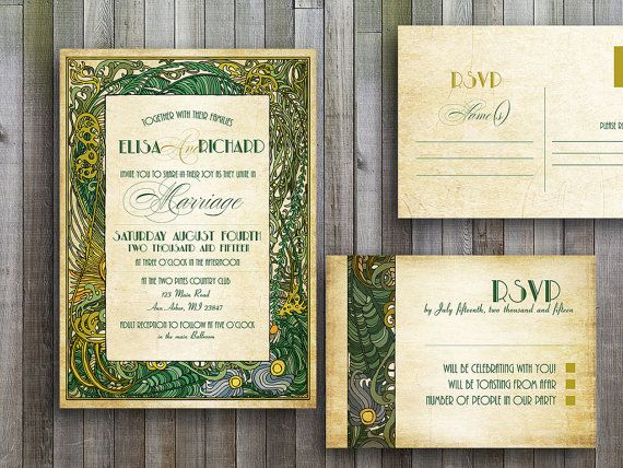 Great Wedding Invites: Wedding Invitations Printable Templates Files Art Deco