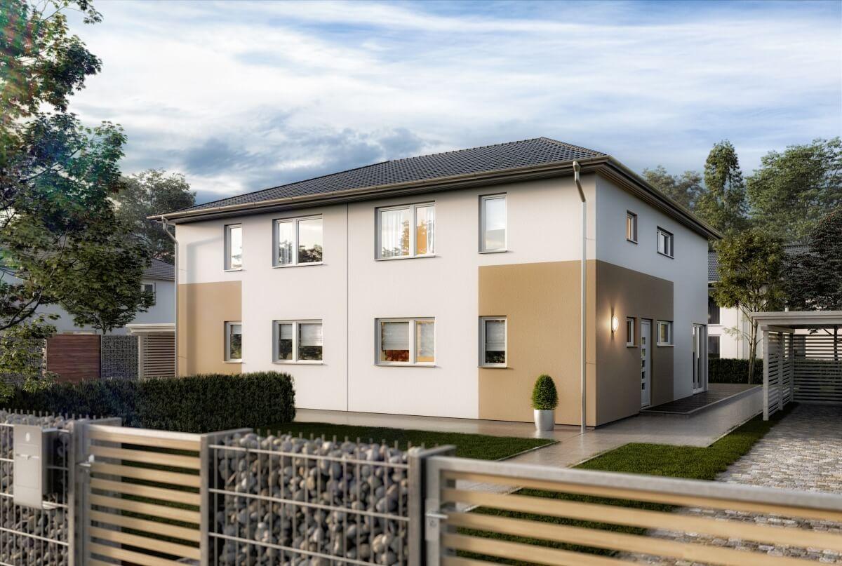 Modernes Doppelhaus mit Walmdach Architektur