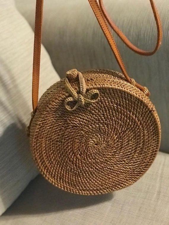 bd28eccedbfbbd Rattan Bag Round Bag Straw Bag with Woven Bow Closure Natural Handwoven  Bali Ata Grass Shoulder