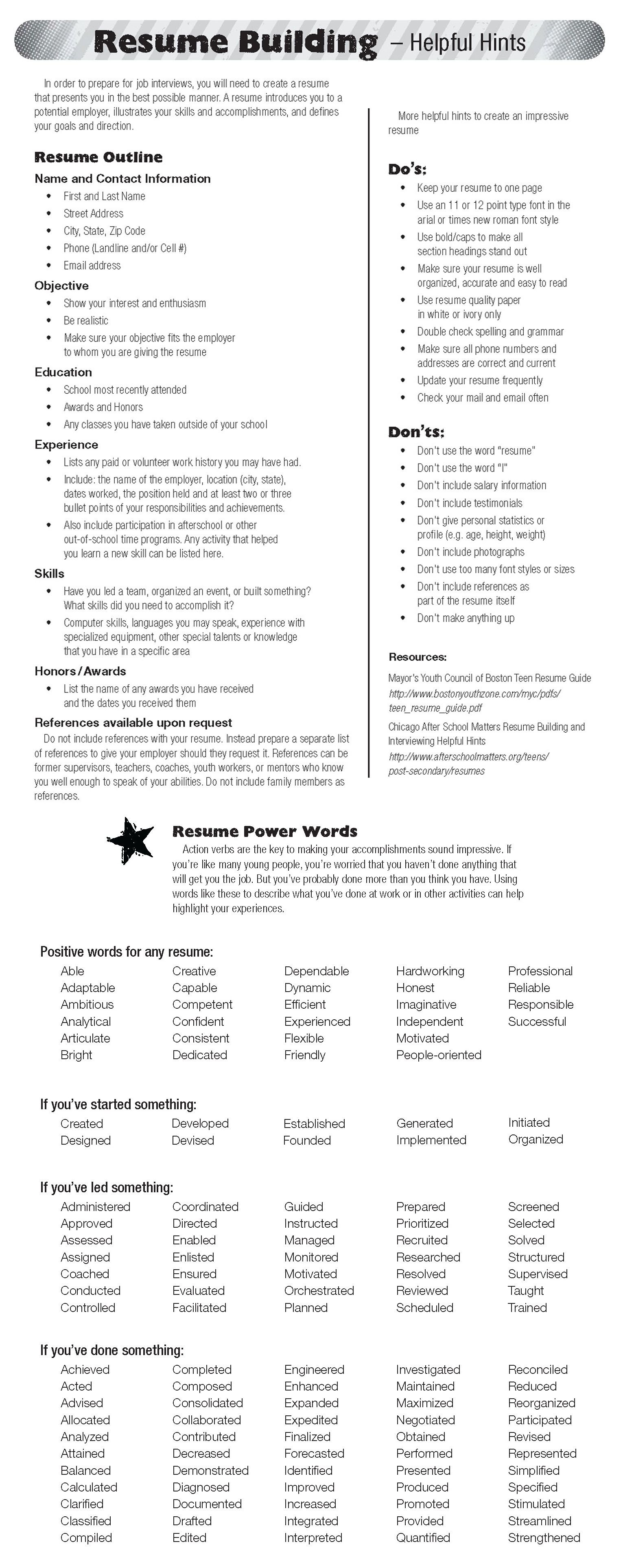 Resume Tips And Power Words Resume  Interview    Job