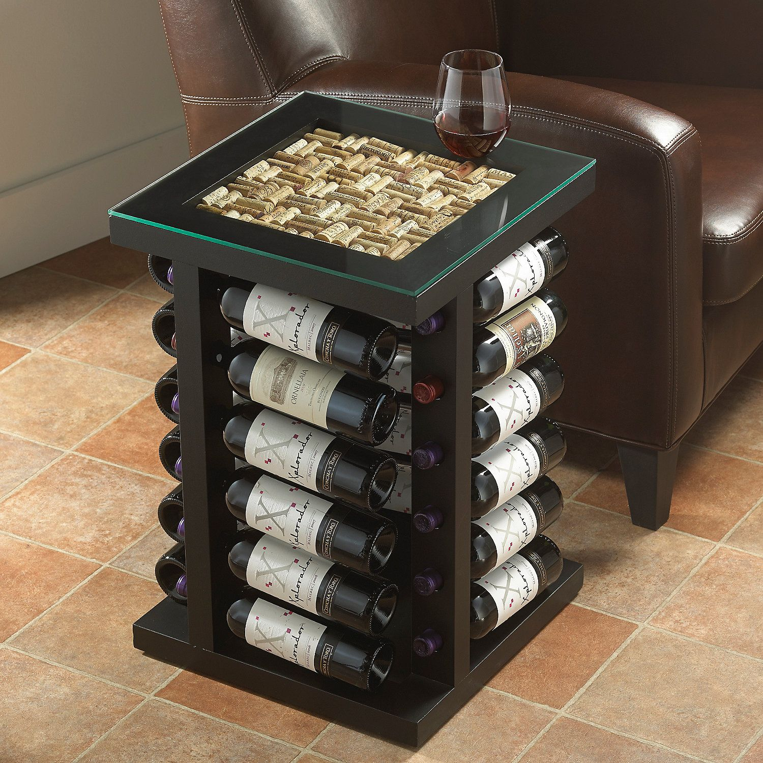 wine rack end table with cork kit top
