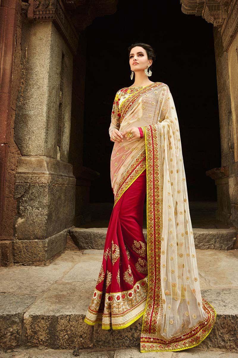Yellow cotton saree for wedding red net wedding saree  wedding sarees on variation in  pinterest