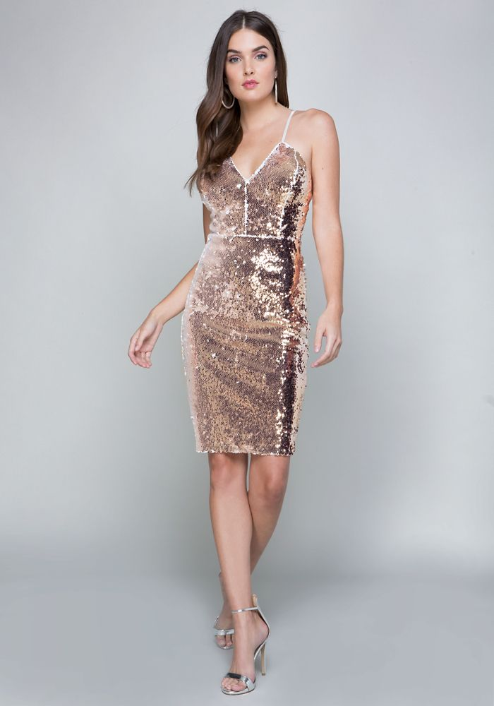 6fc678c5d0e Bebe Women s Danny Sequin Dress