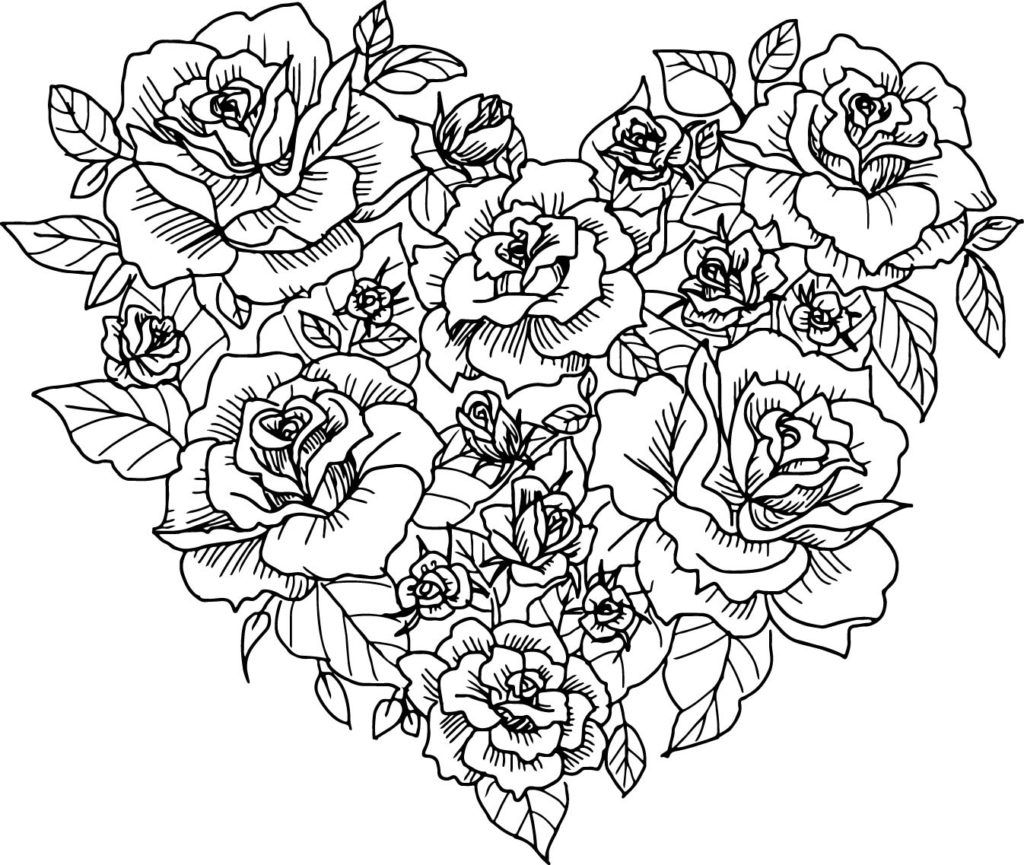 Heart Coloring Pages Heart Coloring Pages Rose Coloring Pages