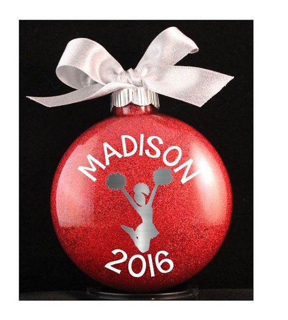 Cheerleader Christmas Ornament Cheer Ornament With Name And Etsy Christmas Ornaments Diy Christmas Ornaments Vinyl Ornaments