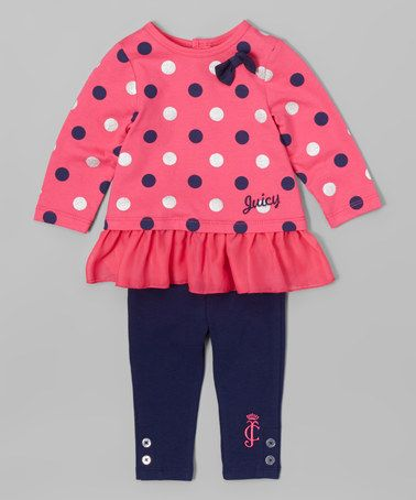 Another great find on #zulily! Pink & Navy Dot Ruffle Tunic & Leggings - Infant #zulilyfinds