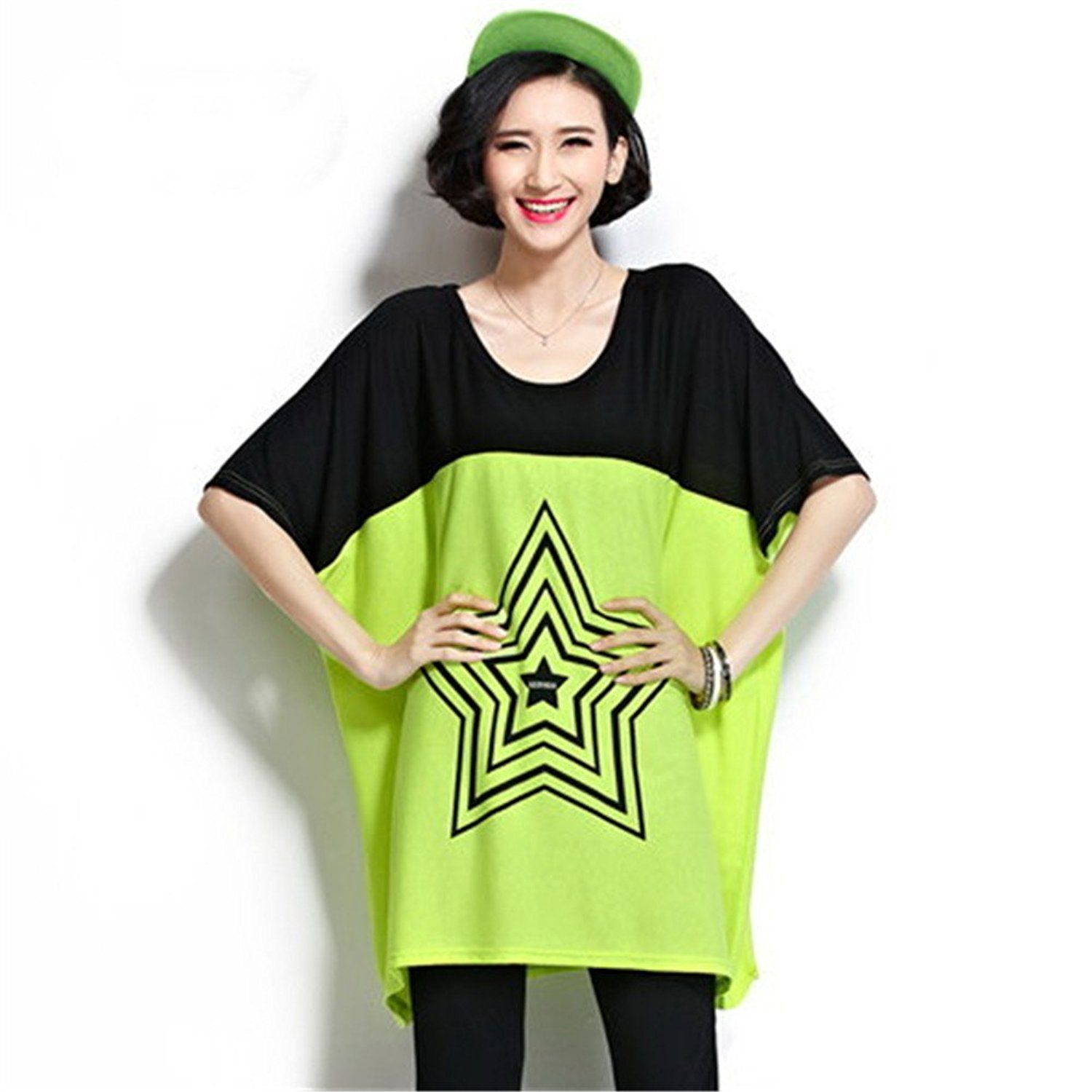 M bedy womens summer oversize batwing sleeve dress loose casual price tracker and history of 2016 new plus size womens t shirt summer street style star pattern batwing sleeve cotton top shirts for women jeuxipadfo Choice Image