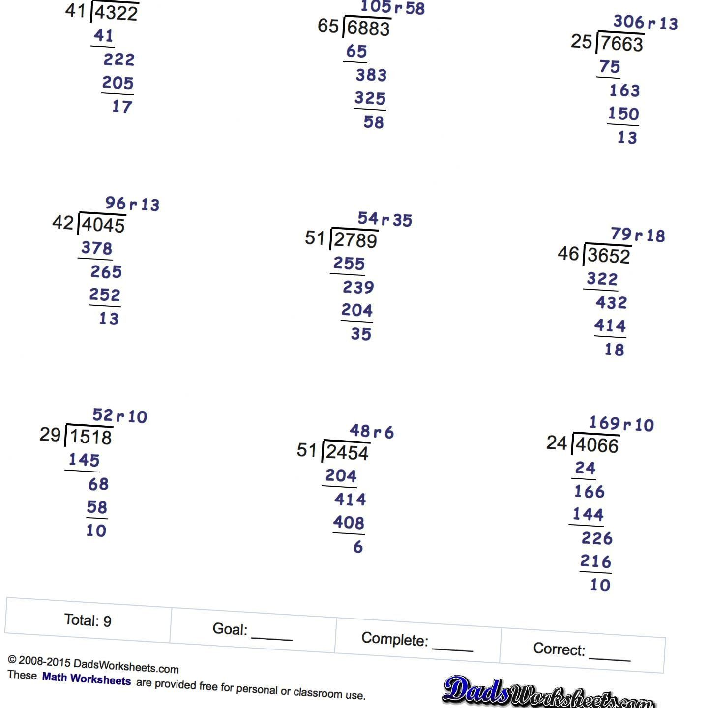 Readable Division Worksheets With Remainders