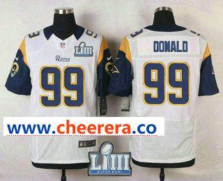 Men s Los Angeles Rams  99 Aaron Donald White 2019 Super Bowl LIII Patch  Elite Jersey 16f036289