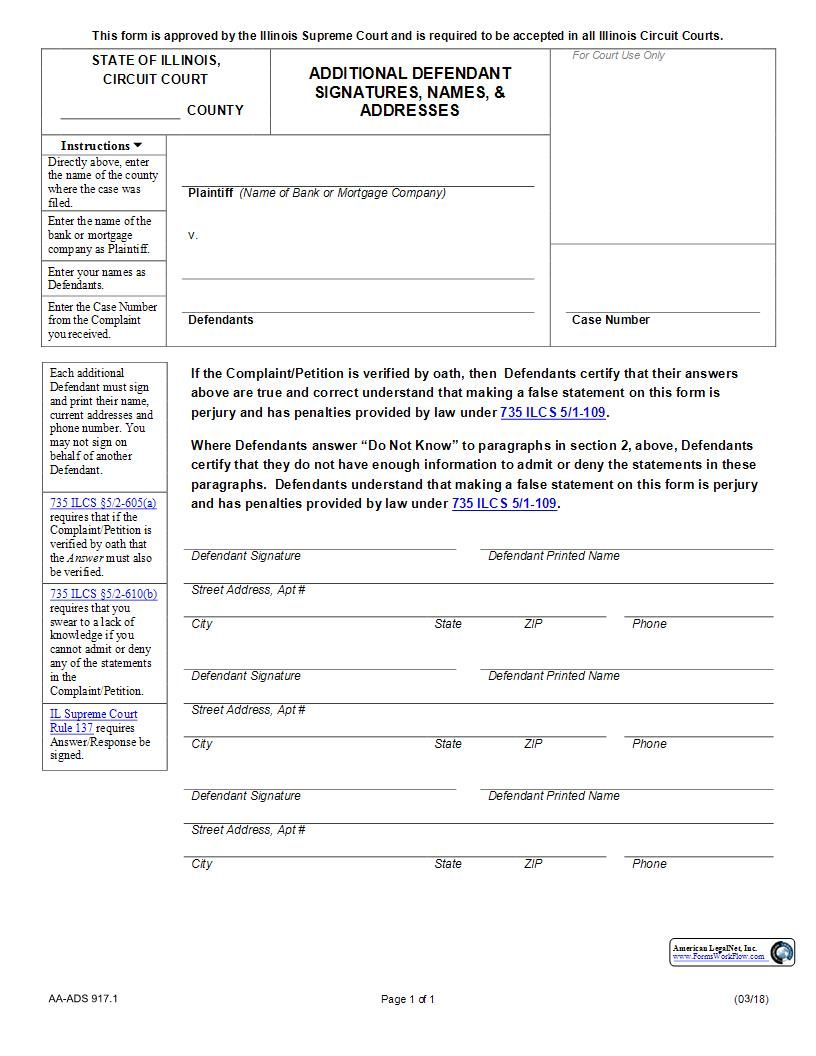 This Is A Illinois Form That Can Be Used For Mortgage Foreclosure