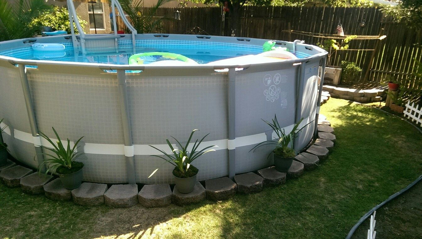 Edging On Our Pool Backyard Pool Landscaping Above Ground Pool Landscaping Intex Above Ground Pools