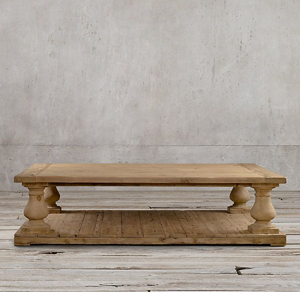 Rh 39 s balustrade salvaged wood coffee table our salvaged pine coffee table takes the classic Restoration coffee tables