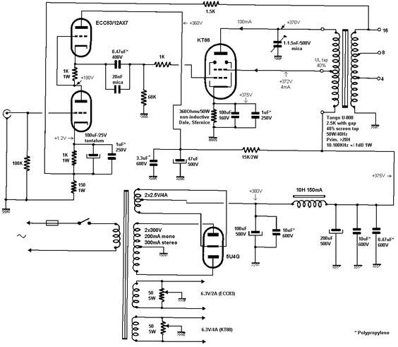 Jean Hiraga 12AX7 Single Ended KT88 Tube Amplifier Schematic
