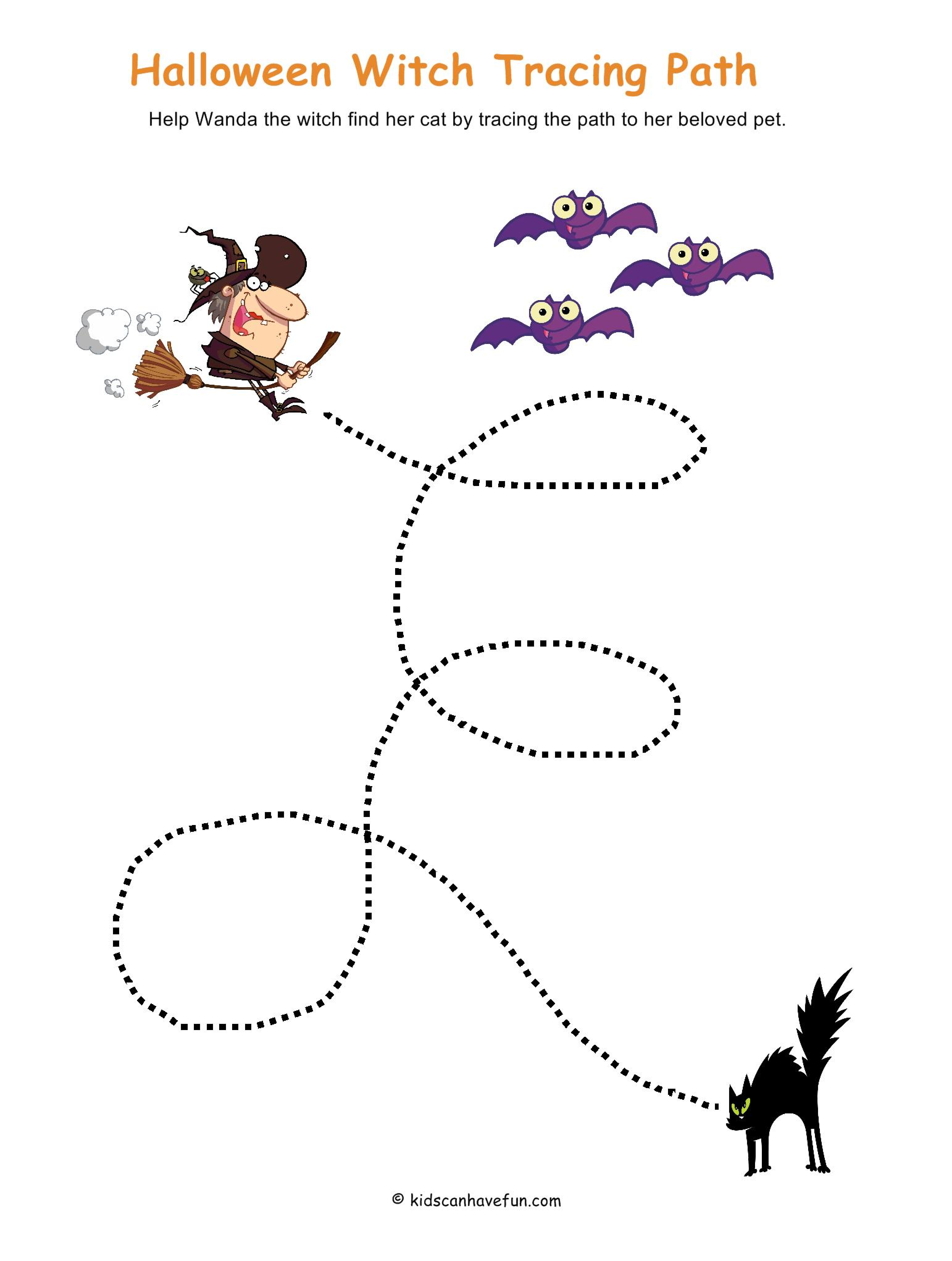 Halloween Witch Tracing Path Activity