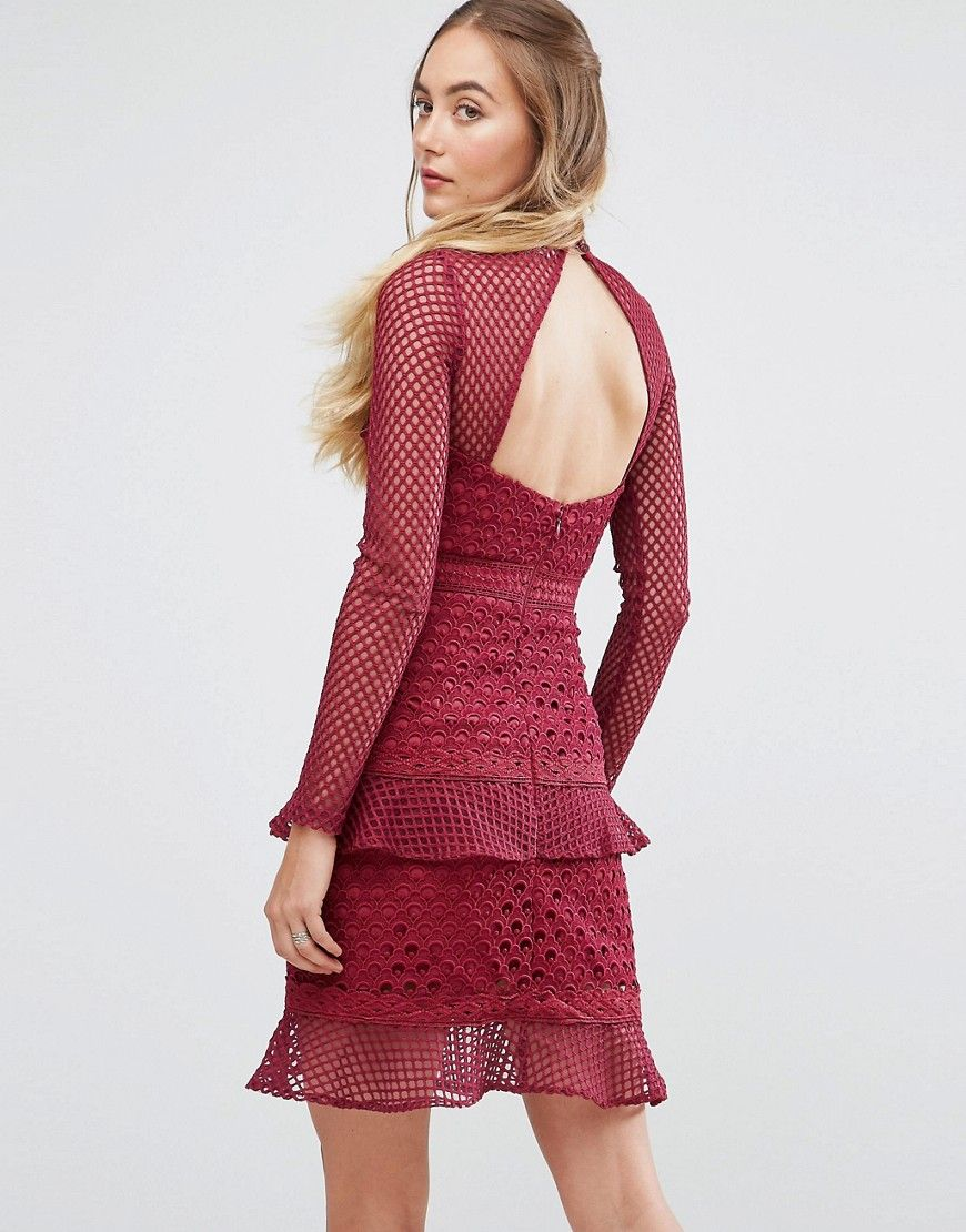 23d2348894b True Decadence Tall All Over Mesh Skater Dress With Ruffle Hem ...