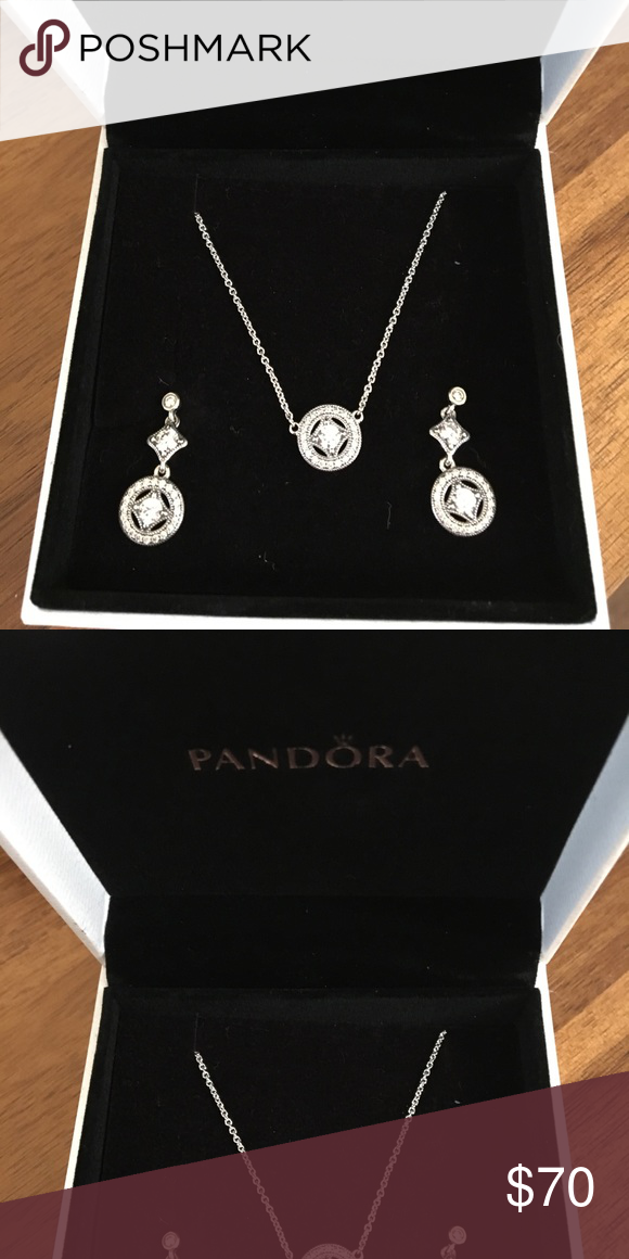 4978b5a4e Pandora necklace and earrings set Pandora set retails for over $150. New in  box, never worn. Comes with authentic Pandora box as well. Pandora Jewelry
