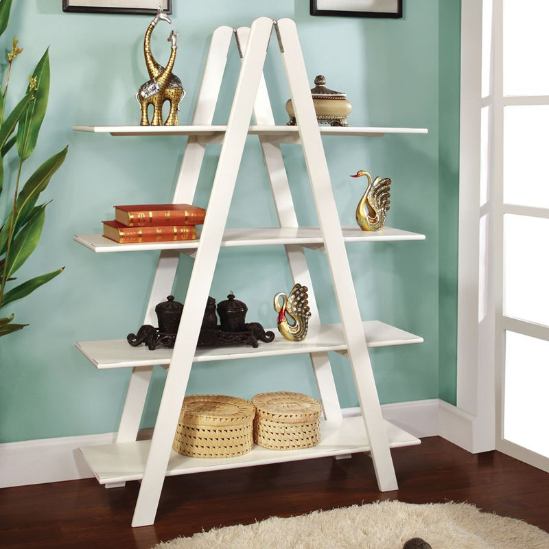 Open sided bookshelves allow for a lot of display space, but still keep the  space feeling open.