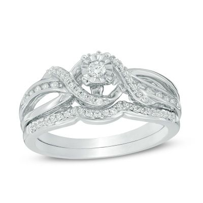 Zales 1/4 CT. T.w. Diamond Swirl Bridal Set in Sterling Silver VH1V0H