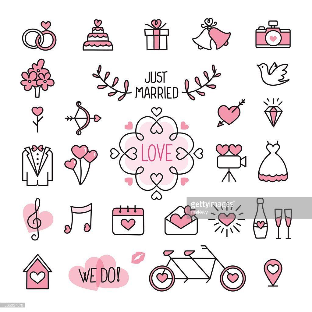 Photo of Easily editable flat vector wedding icons.