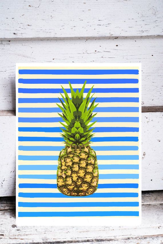 Pineapple - Original Art Print Blue and White Stripes Colorful Kitchen Art 11 x 14 Green Fruit Pop Art bright happy summer beach australia
