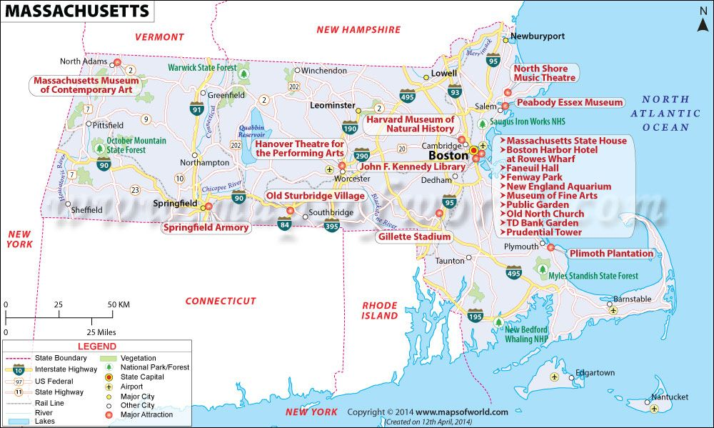 Massachusetts Map Showing The Major Travel Attractions Including