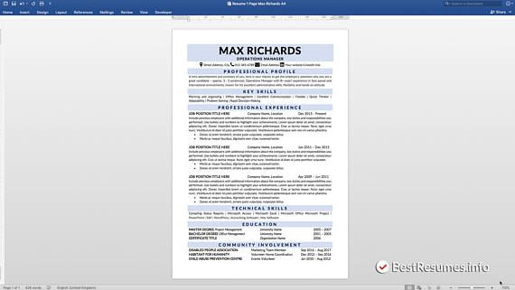 Clean Resume, Resume Template Word, Simple Resume, Classic Resume