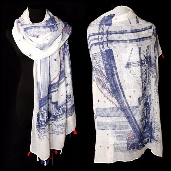 """B151 Off White Cityscape Bridge Tassel Scarf ‼️PRICE FIRM‼️   Cityscape Scarf  65% viscose, 35% cotton.  Please check my closet for many more items.  35"""" wide  76"""" long Boutique Accessories Scarves & Wraps"""