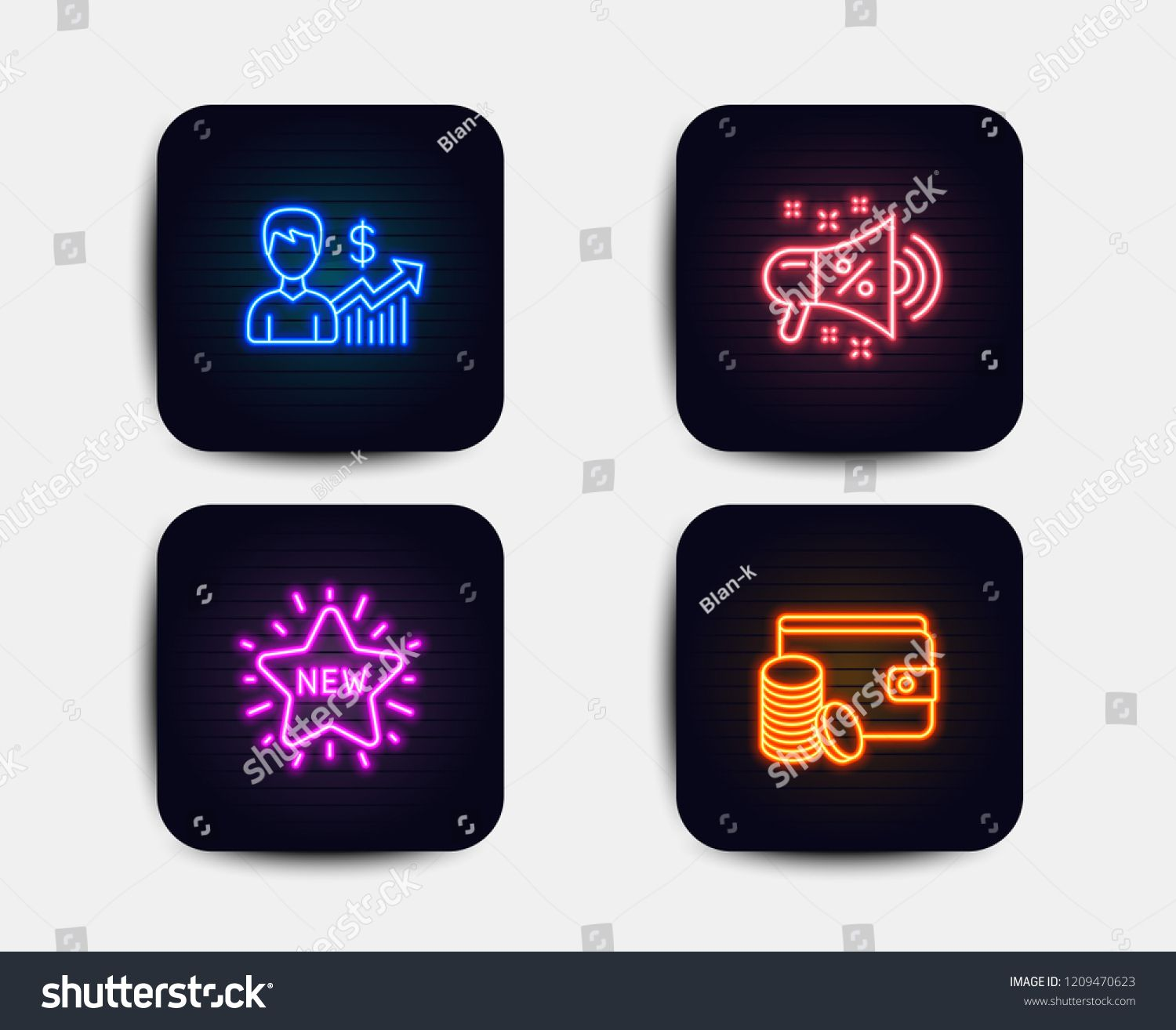 Neon glow lights. Set of New star, Sale megaphone and