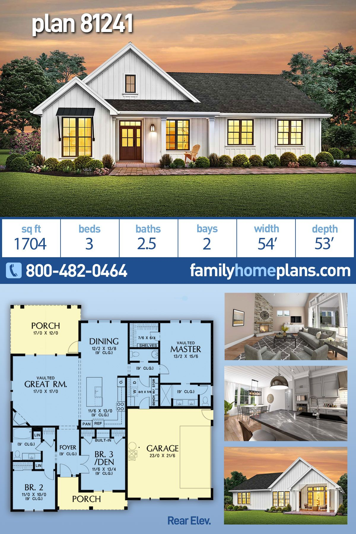 Traditional Style House Plan 81241 With 3 Bed 3 Bath 2 Car Garage Building Plans House Craftsman Style House Plans House Plans Farmhouse