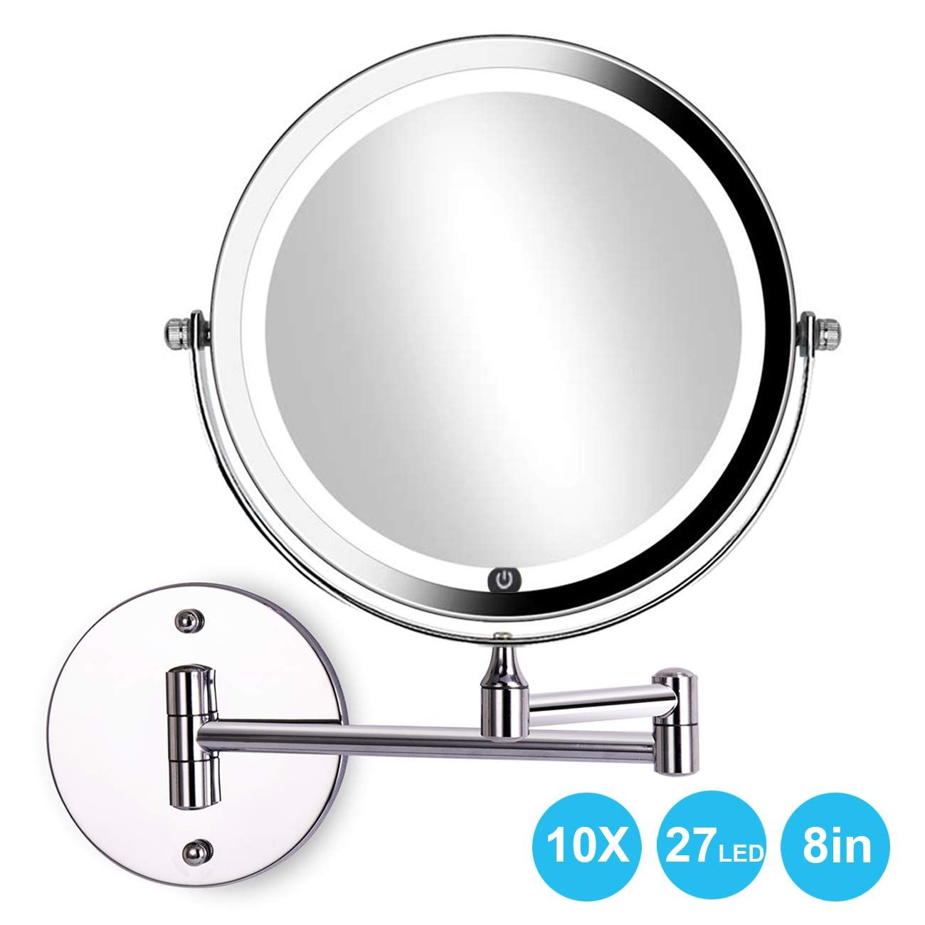 Acolar Led 8in Wall Mounted Makeup Mirror With Lights 10x