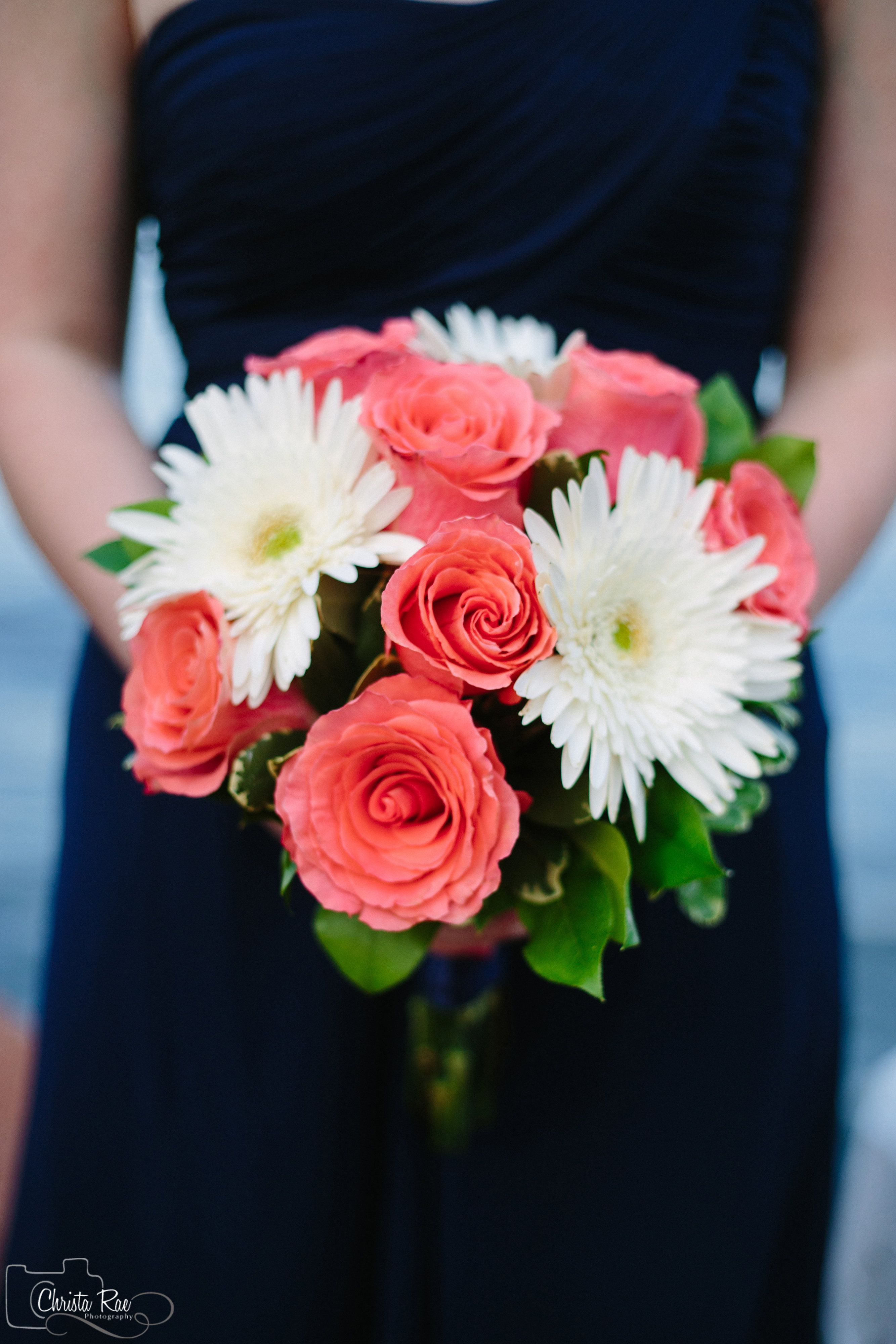 Bridesmaids Bouquet Of Amsterdam Coral Roses And White Gerber