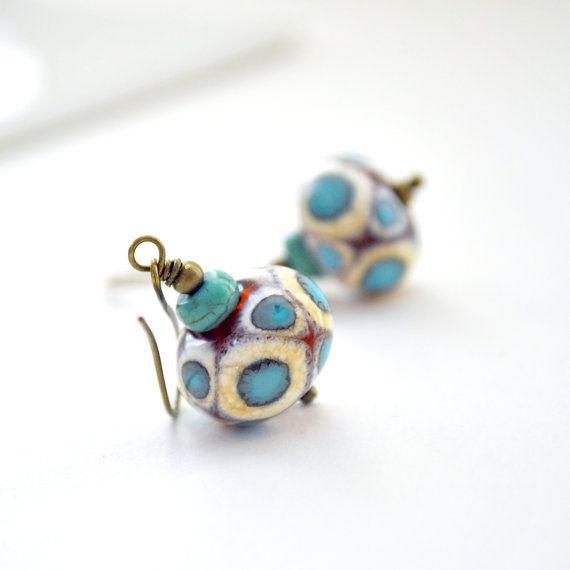 Polka Dot Earrings Lampwork Earrings Blue Amber Cream by bstrung, $26.00