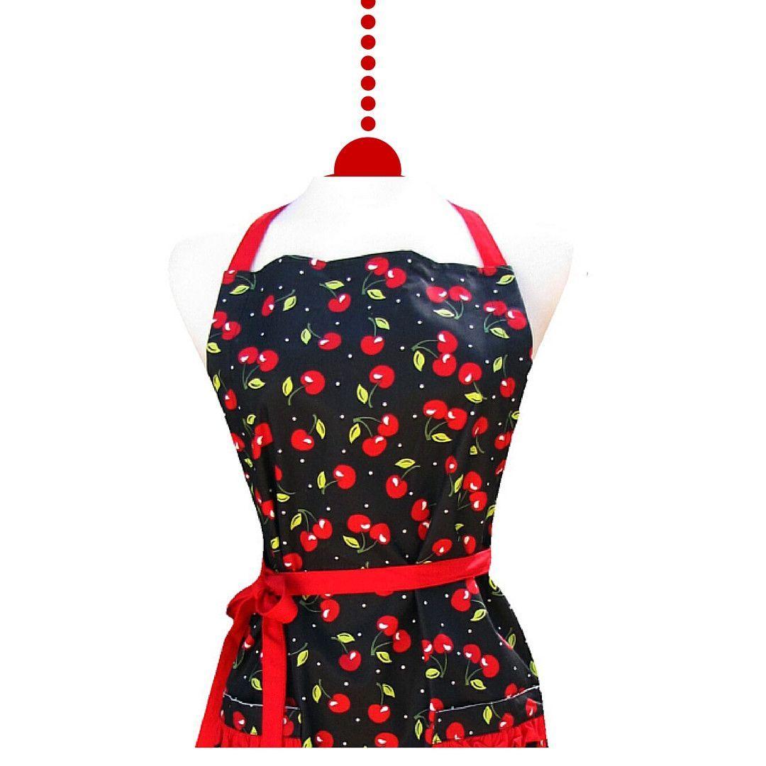 Apron Retro Ruffle Black Cherry
