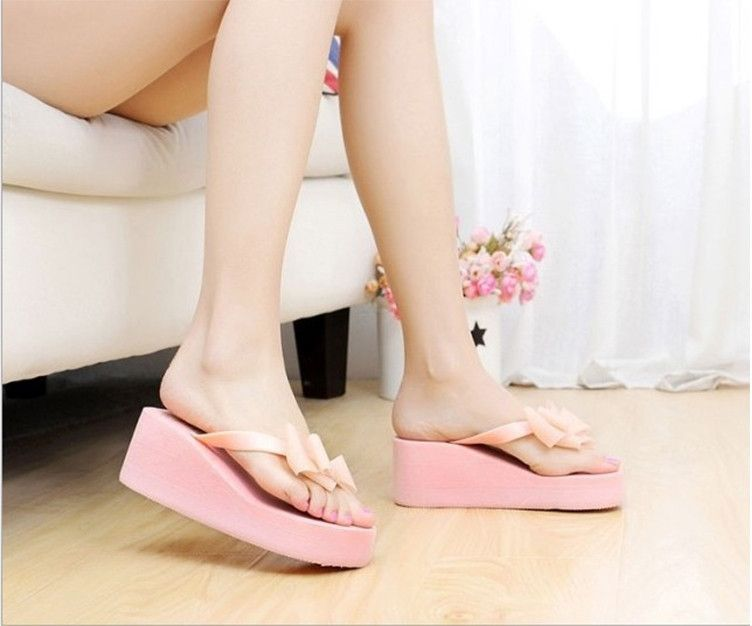 hot sale Flip Flops High-heeled Slippers Women's Summer Beach Platform  Thong Wedge Sandals Bowknot
