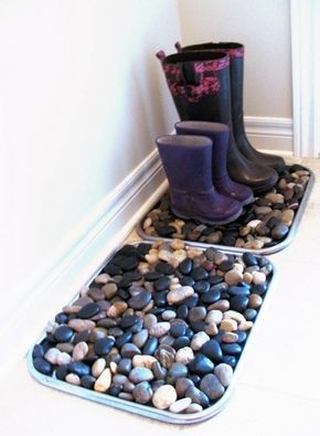 Fill Shoe Trays With Stones To Disguise All The Muck And Salt That Is Sure To Come In On Shoes And Boots Over The Next F Home Projects Household Hacks Home