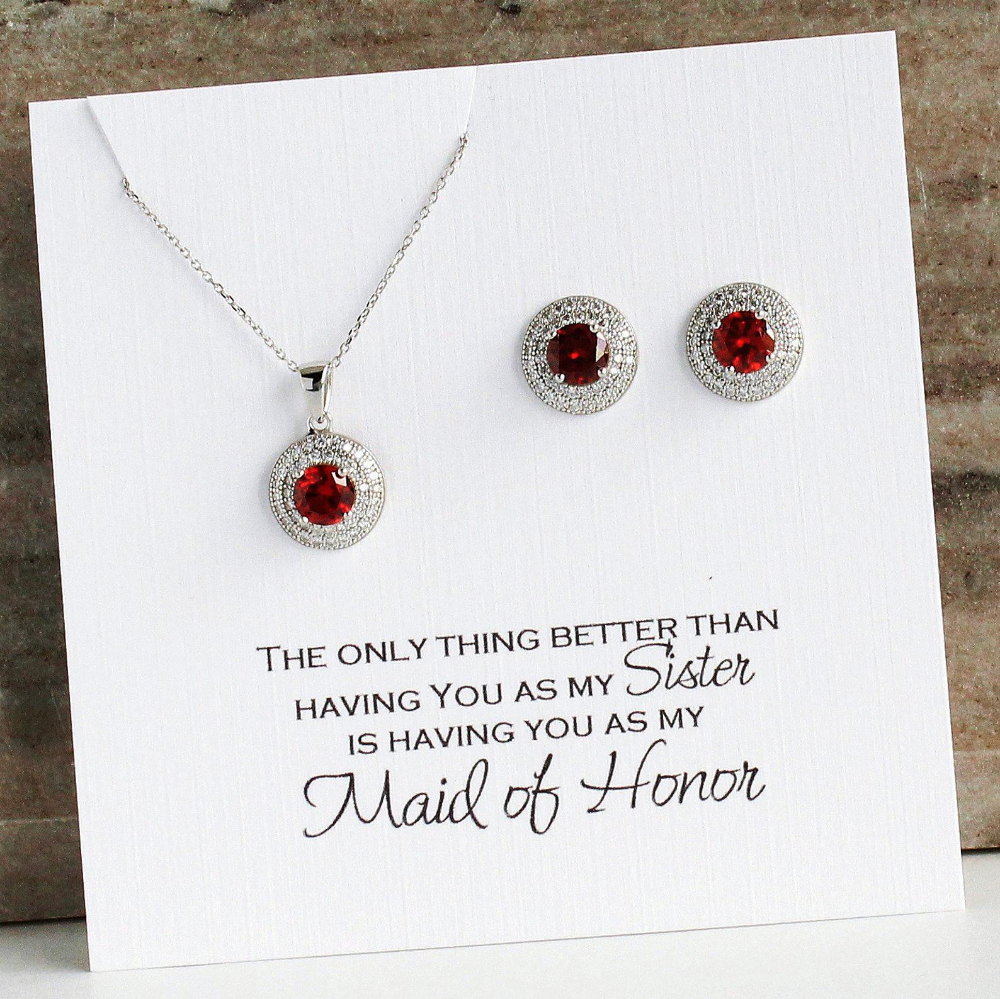 Sister Maid Of Honor Wedding Gift From Bride Red CZ