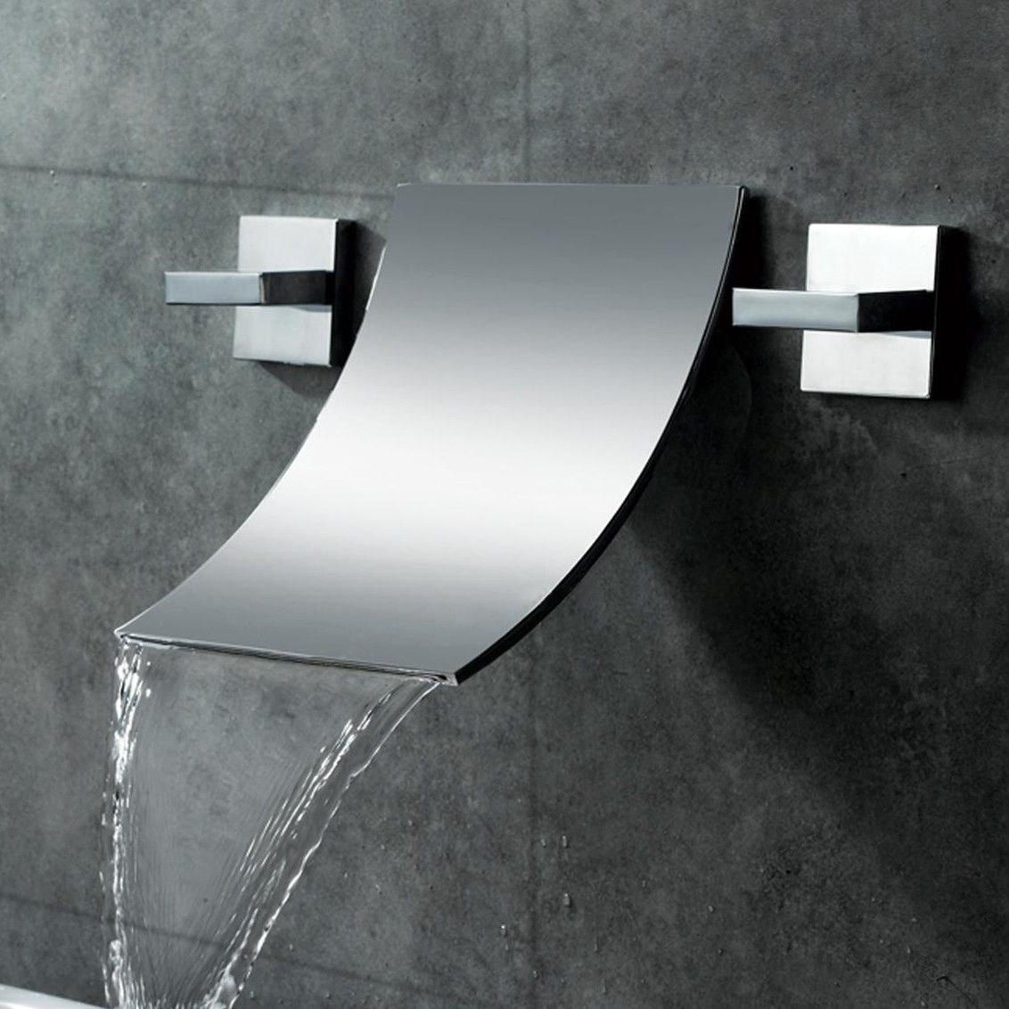 This waterfall wall-mounted bathroom sink faucet will brighten up ...