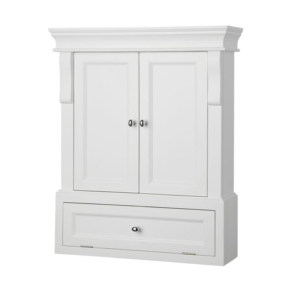 Home Decorators Collection Naples 26 1 2 In W X 32 3 4 H 8 D Bathroom Storage Wall Cabinet White