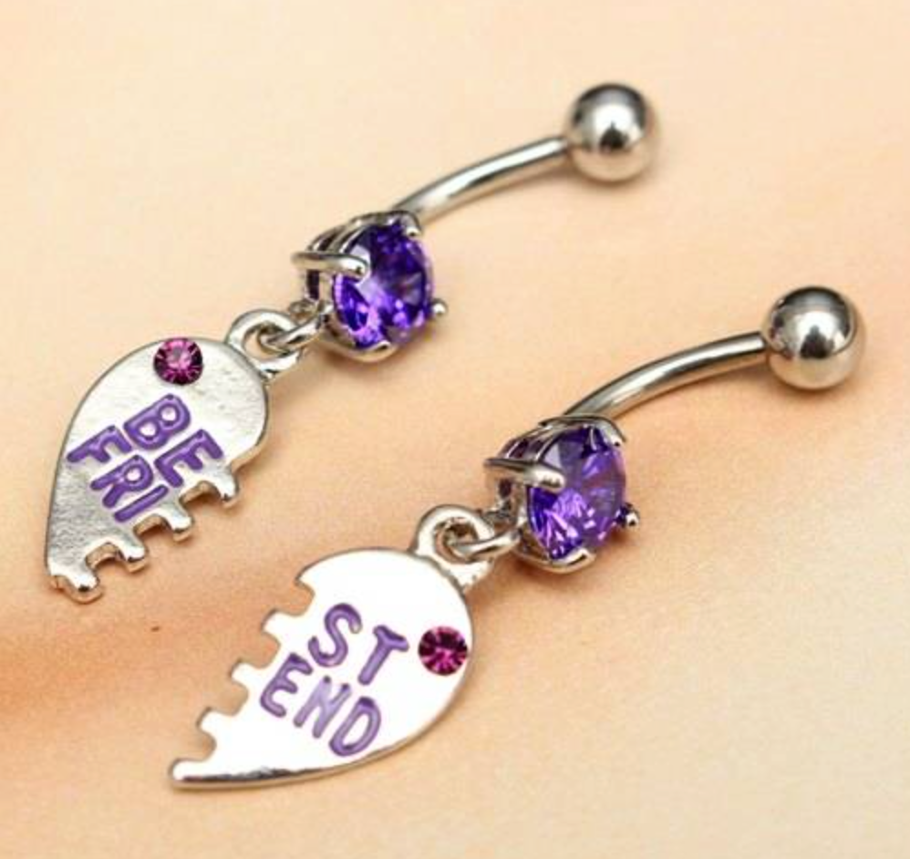 Fake belly piercing  Purple Crystal Best Friend Piercing Belly Button Navel Rings