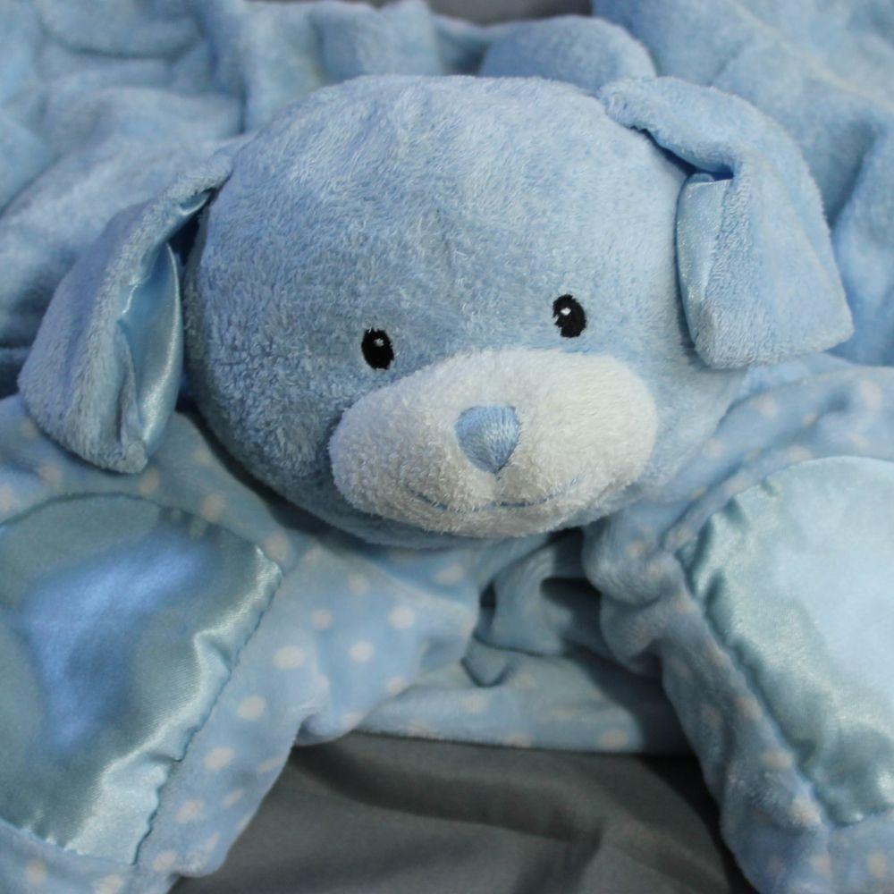 Baby GUND Dottie Dots Blue Puppy Plush Satin Security Blanket Lovey ...
