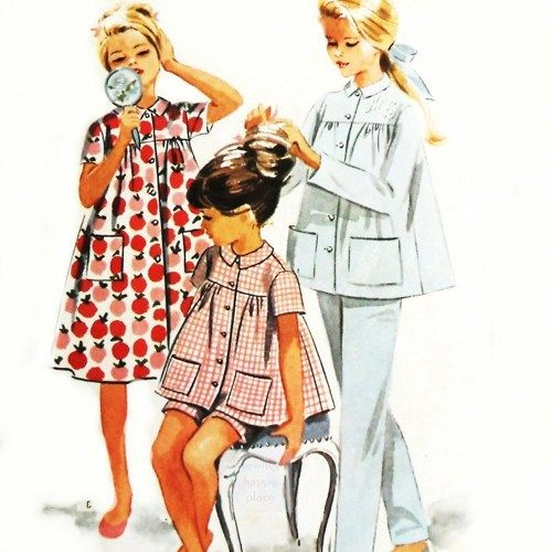 Girls Pajamas Nightshirt Robe 1960s Pattern Long or Short Monograms