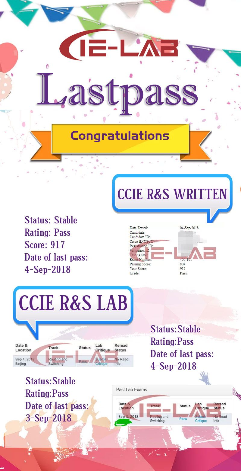 CCIE R&S exam is stable now. IELAB keep passing CCIE R&S