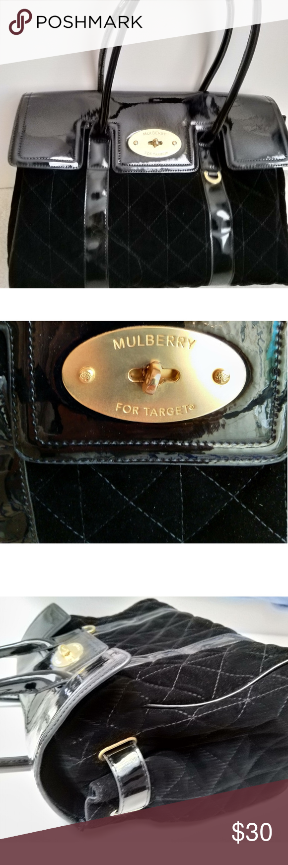 MULBERRY bag forTARGET black patent & velvet style MULBERRY handle bag for TARGET black patent & quilted velvet look, handle bag with gold-tone hardware, protective feet at base, turn-lock closure at flap. Great condition, just little wear on lock plate (see last 2 pictures) Cannot see it when it is locked. 14.5 x 5.25 x 11. Mulberry did a collaboration with Target years ago,limited edition. Mulberry for Target Bags #mulberrybag