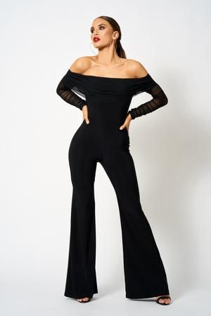 hot-selling genuine sale retailer promotion Black Ruched Mesh Bardot Jumpsuit in 2019 | Acquisitions ...