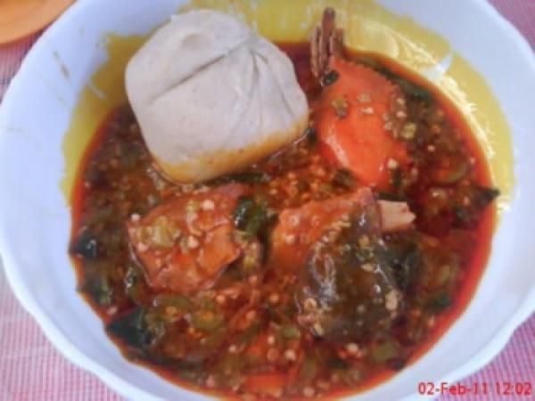 Banku and okro soup for Authentic african cuisine from ghana