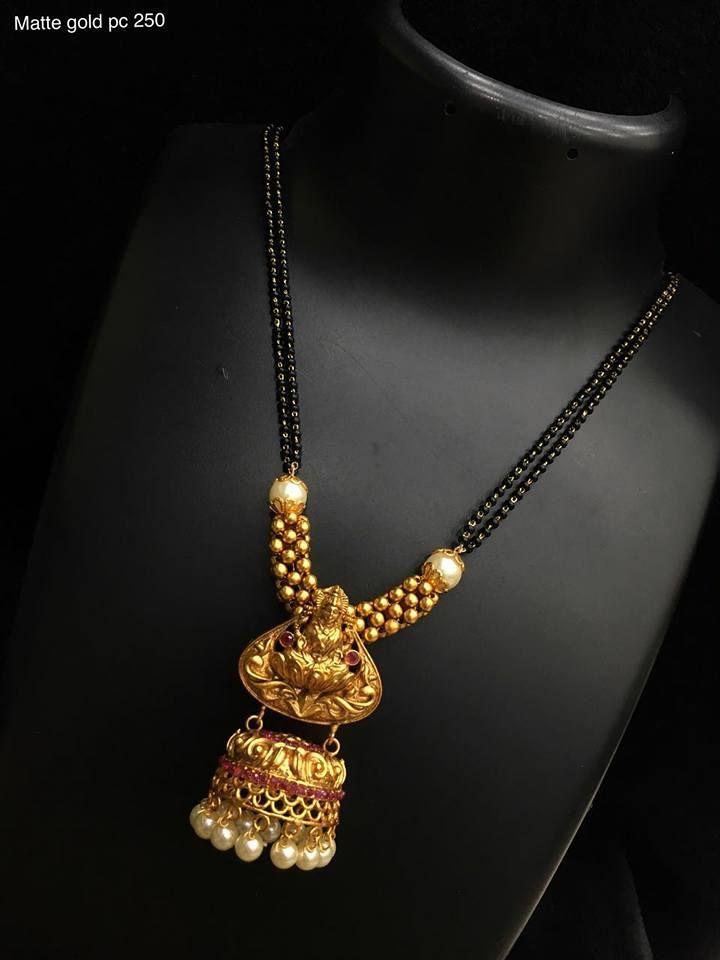 d09c6bd6158d7 Beautiful one gram gold mangala sutr with lakshmi devi pendant ...