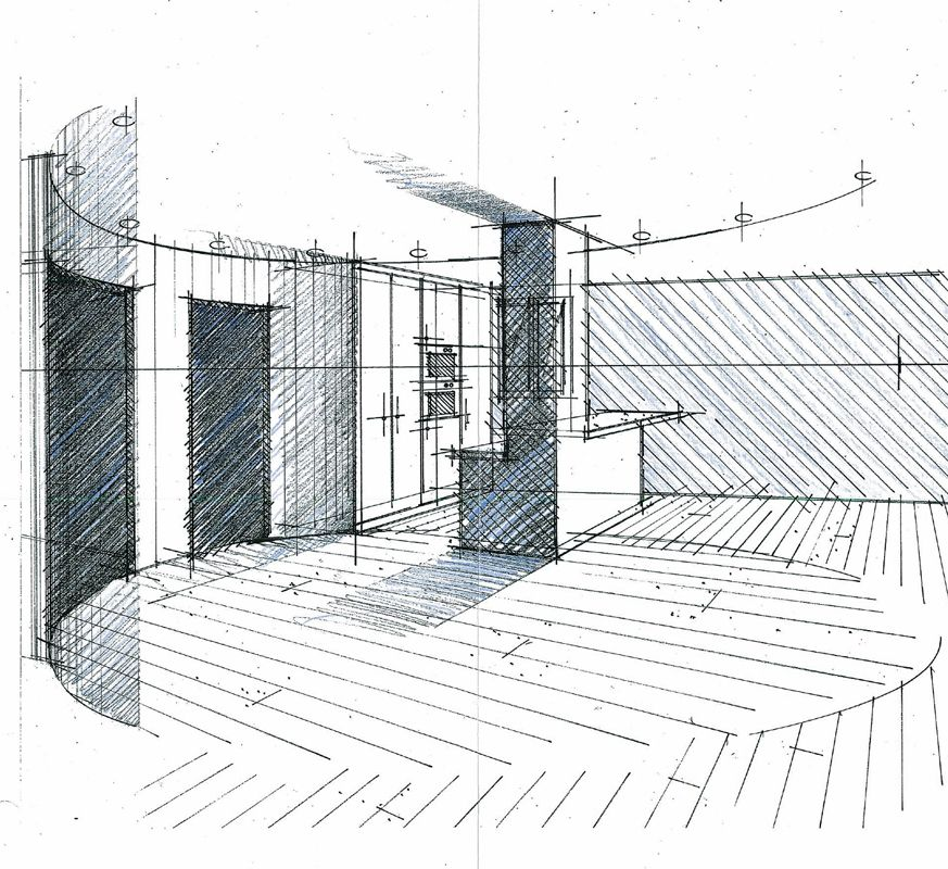 Croquis d 39 un hall salon cuisine philippe ponceblanc for Dessin architecture interieur