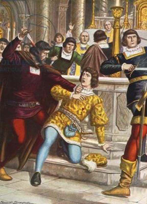 Giulianno sendo assassinado por Francesco de Pazzi durante a Conspiração Pazzi. Páscoa de 1478