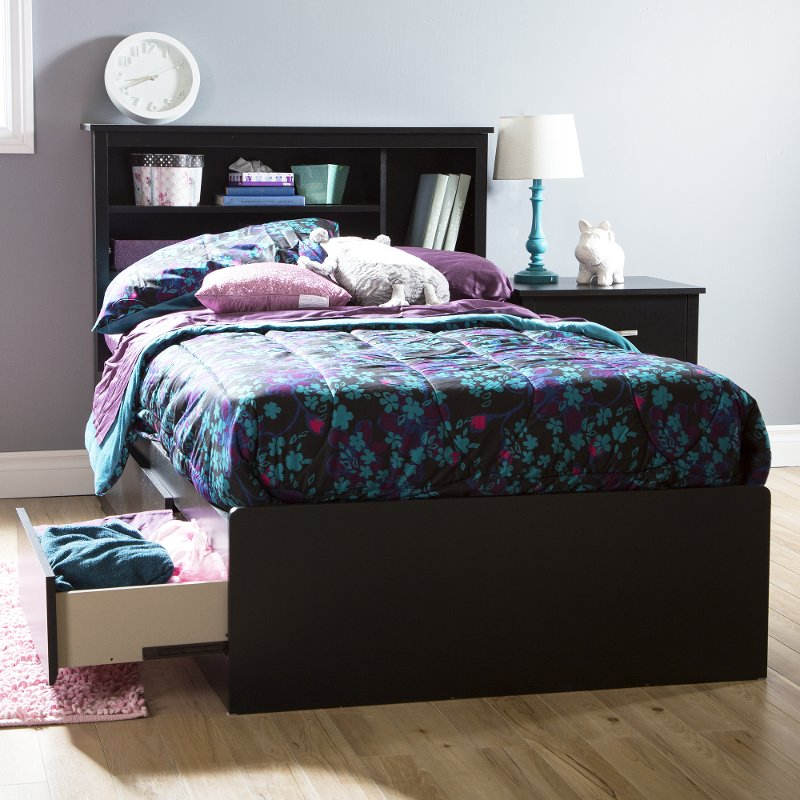 Pure Black Twin Mates Bed With 3 Drawers 39 Inch Twin Storage